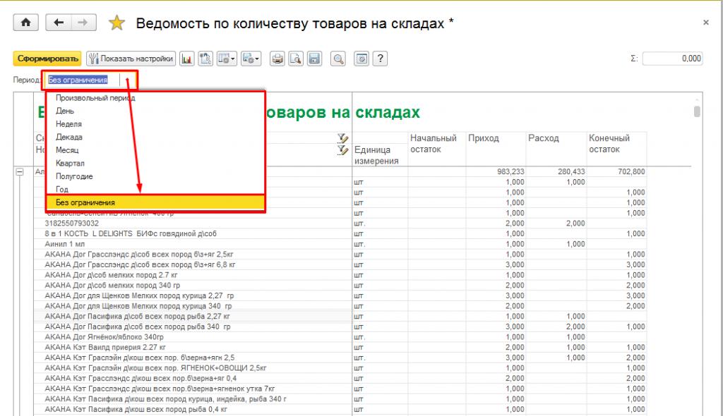 Рис.3 Список всех товаров хранящихся на складе на данный момент при стандартных настройках отчета